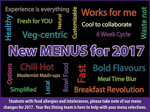 New Menus for 2017