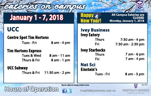 First week of January Hours of Operation